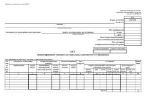Акт инвентаризации материальных ценностей, изготовленных (приобретенных) в процессе выполнения НИР (ОКР)