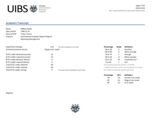 Academic Transcript (not valid without diploma)