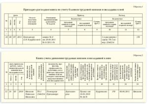 Приходно-расходная книга по учету бланков трудовых книжек и вкладышей к ним (Образец заполнения)