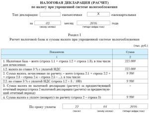 Налоговая декларация (расчет) по налогу при упрощенной системе налогообложения