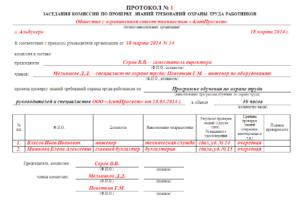 Протокол заседания квалификационной комиссии (Образец заполнения)