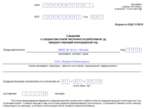 Сведения о средней численности работников за календарный год (Форма)