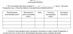 Акт сдачи-приемки к договору подряда с физическим лицом