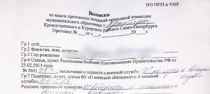 Книга протоколов районной (городской) призывной комиссии