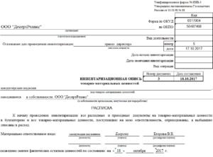 Инвентаризационная опись товаров, материалов, тары и денежных средств в торговле