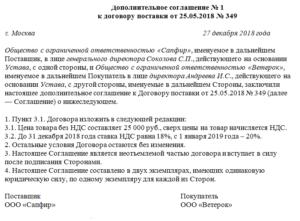 Соглашение о внесении изменений (дополнений) в договор поставки