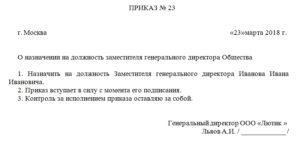 Заявление о назначении на должность директора унитарного предприятия (Образец заполнения)