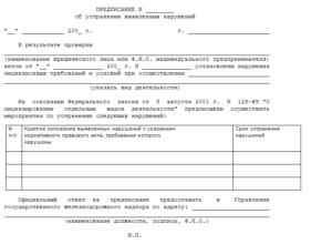 Акт-предписание по результатам проверки организации деятельности по охране окружающей среды