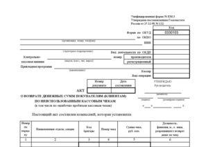 Акт о возврате наличных денежных средств покупателю (потребителю)