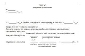 Приказ о предоставлении полномочий (Образец заполнения)