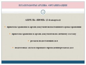 Форма плана работы архива организации