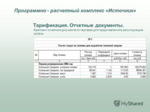 Отчетная калькуляция себестоимости тепловой энергии собственной выработки (Форма 6-Тх теплоснабжение)