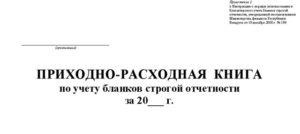 Приходно-расходная книга по учету бланков строгой отчетности (Образец заполнения)