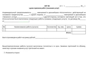 Акт сдачи-приемки выполненных работ по договору