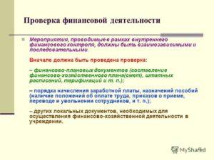 План проведения проверок финансово-хозяйственной деятельности в организациях