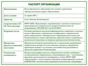 Паспорт организации