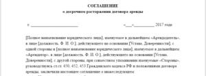 Соглашение о расторжении договора аренды недвижимости