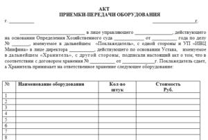 Акт приема-передачи ценностей на диагностику (анализ) и / или оценку. Примерная форма