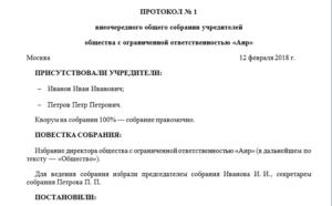Протокол заседания собрания учредителей (участников) общества с ограниченной ответственностью (об учреждении общества)