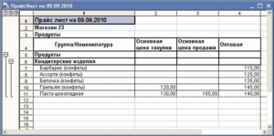 Прейскурант цен на товары (Образец заполнения)