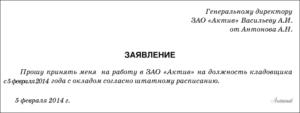 Заявление о приеме на работу
