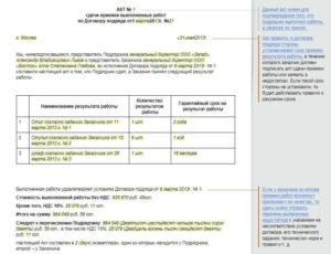Акт сдачи-приемки результата выполненной работы по договору подряда