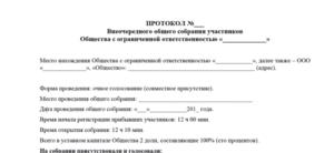 Выписка из протокола общего собрания участников Общества с ограниченной ответственностью