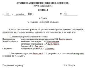 Пример оформления приказа о создании экспертной комиссии