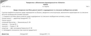 Приказ о создании комиссии по учету нематериальных активов в 2013 году (Образец заполнения)