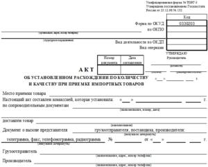 Акт приемки товаров по количеству и качеству (Образец заполнения)