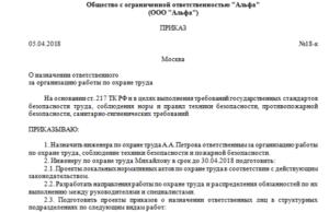 Образец приказа о назначении лиц, ответственных за охрану труда