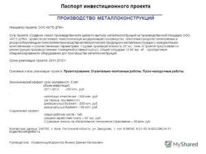 Паспорт инвестиционного проекта