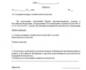 Приказ о создании квалификационной комиссии (Образец заполнения)