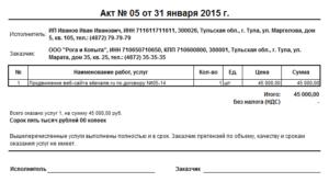 Счет-акт о выполненных работах по сертификации продукции