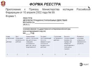 Реестр для регистрации нотариальных действий