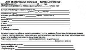 Акт обследования жилищно-бытовых условий (Образец заполнения)