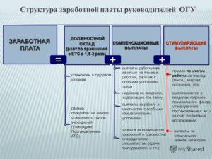 Структура заработной платы руководителя (для Минского района)