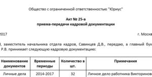Акт о приеме-передаче личных дел (с информацией о выявленных нарушениях) (Образец заполнения)