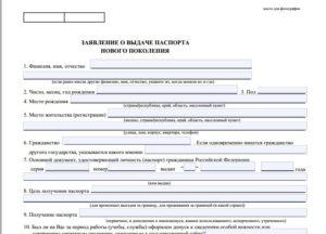 Анкета для оформления паспорта серии РР (Форма 2)