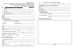 Адресный листок прибытия. Форма 19