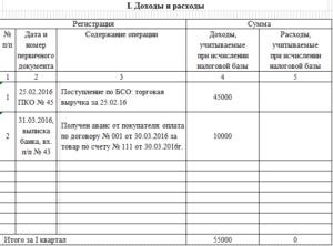 Книга учета доходов и расходов (Образец заполнения Части I раздела VIII)