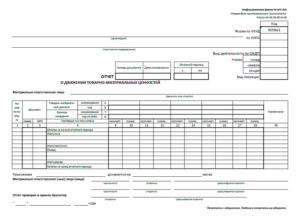 Товарный отчет материально ответственного лица о движении товаров