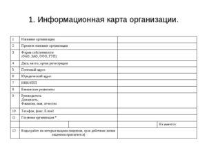 Информационная карта юридического лица