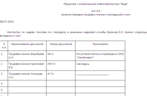 Акт приема-передачи трудовых книжек (Образец заполнения)