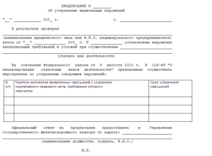 Акт-предписание по результатам проверки