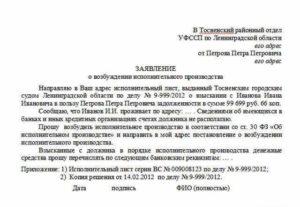 Заявление в Хозяйственный Суд о возбуждении исполнительного производства