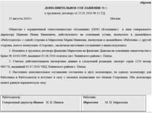 Дополнительное соглашение к трудовому договору, заключенное в связи со сменой фамилии работником (Образец заполнения)