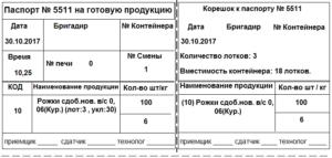 Паспорт на готовую продукцию (Форма № П-8 (хлеб))