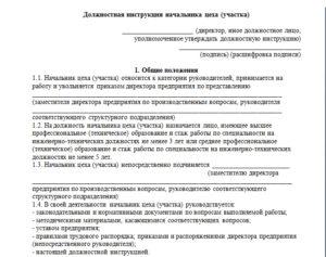 Должностная инструкция начальнику газового цеха