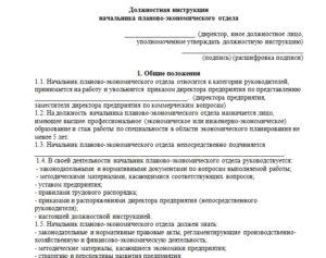 Должностная инструкция начальнику планово-экономического отдела